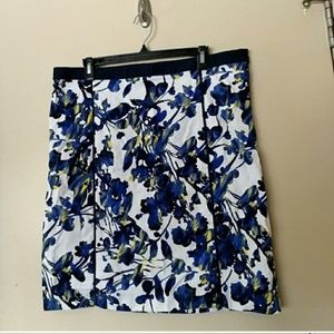 •Rafaella• Blue Yellow Floral Skirt sz. 16
